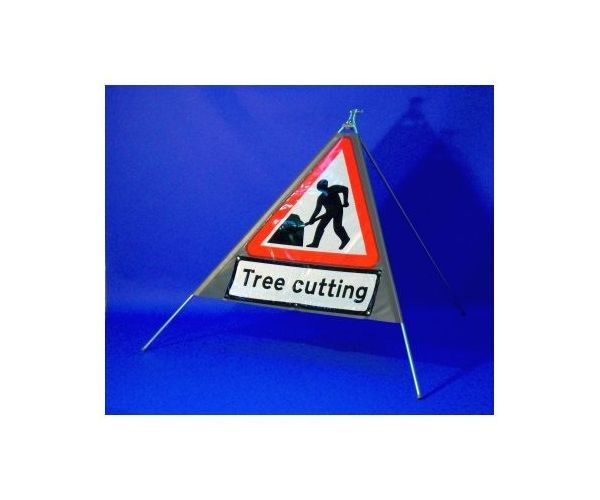 Quazar roll up sign 'Men at Work' with legend (600mm) (TREE CUTTING)