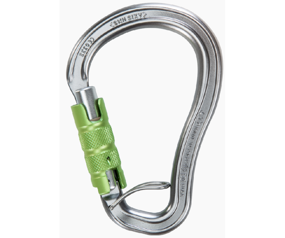 CT 25kN Axis HMS 3 way aluminium karabiner with wire eye