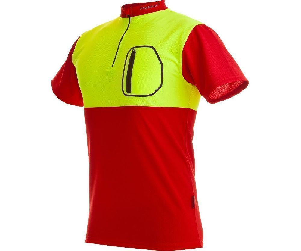Pfanner zip neck T-shirt short sleeve (Red/Yellow) (Large)