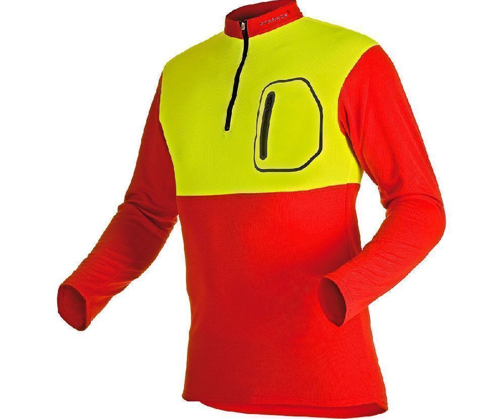 Pfanner zip neck T-shirt long sleeve (Red/Yellow)