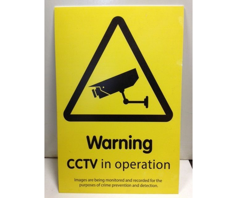 Corrugated plastic sign 'Warning CCTV in operation'