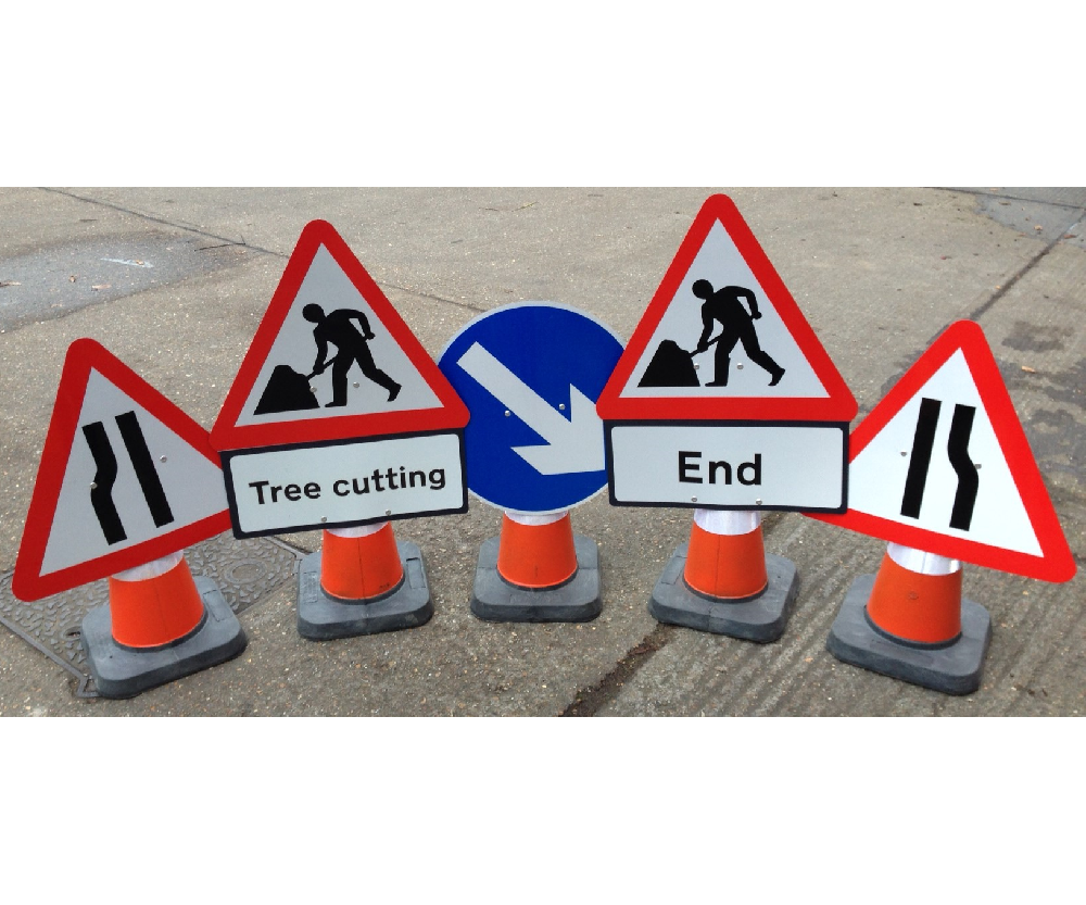 Quazar cone sign for 750mm cones