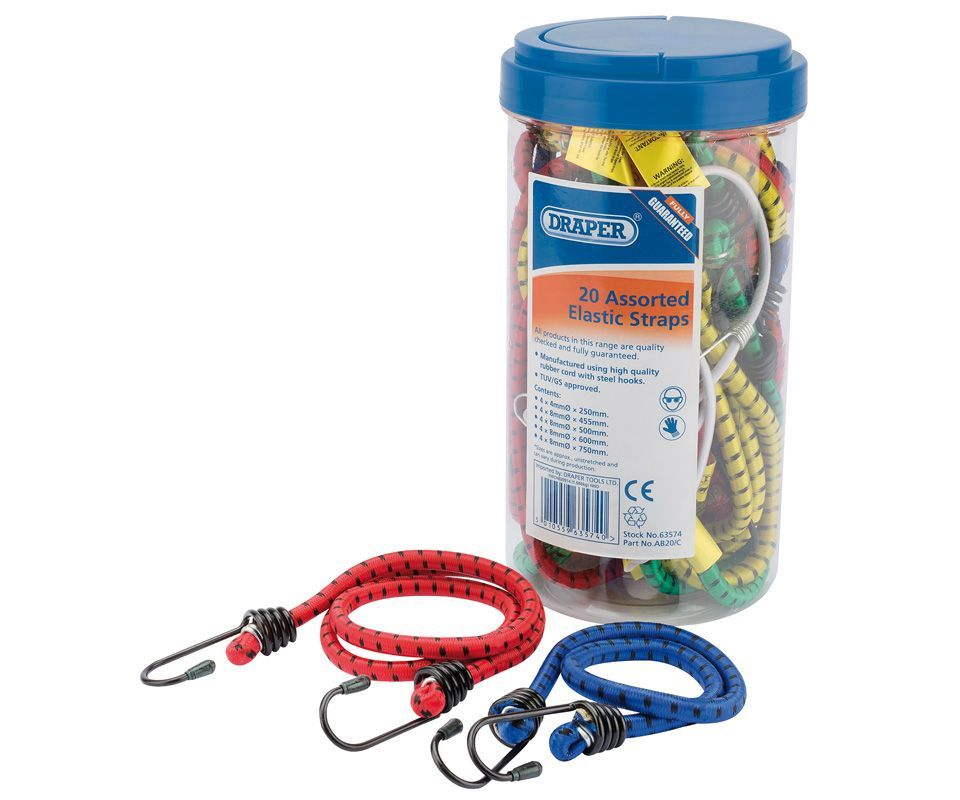 Draper 20 assorted elastic bungee straps in tube