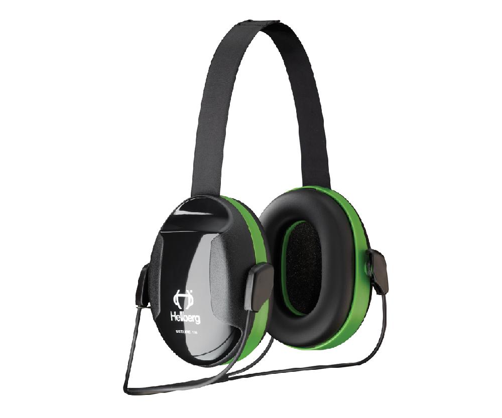 Hellberg green neckband ear defenders, Secure 1 (26 SNR)