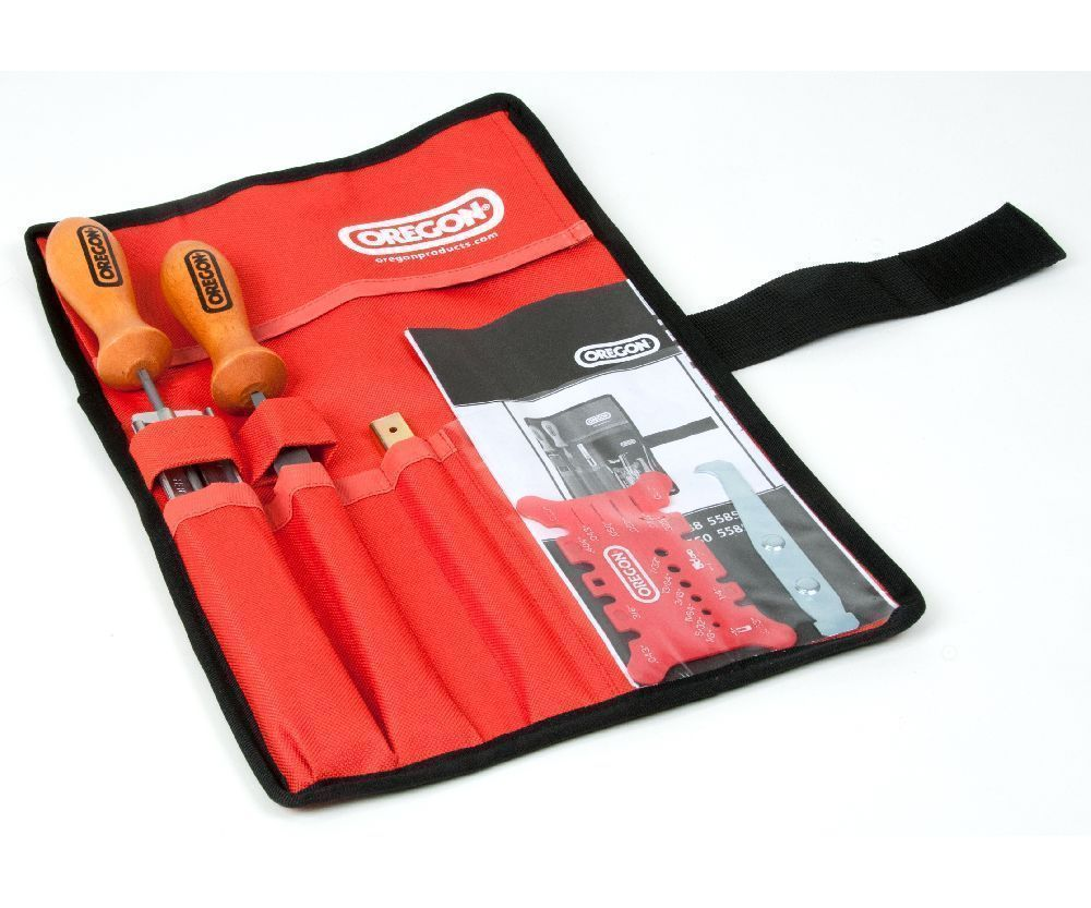 Oregon chainsaw file kit in tool roll (5/32-4mm)