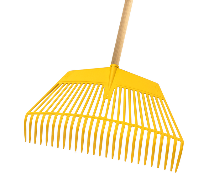 Stein 2 in 1 plastic leaf rake (600mm) (with wooden handle)