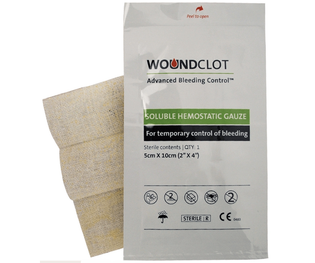 WoundClot haemostatic trauma gauze dressing