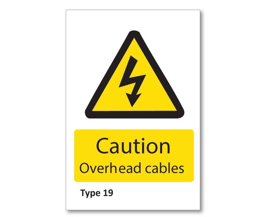 Corrugated plastic sign 'Caution Overhead cables'