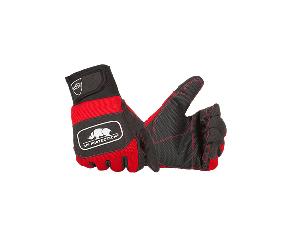 SIP single-hand protection chainsaw gloves (Class 1) (Red/black)