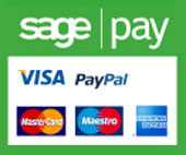 Payments by SagePay - Visa, Mastercard, Maestro, American Express, Paypal