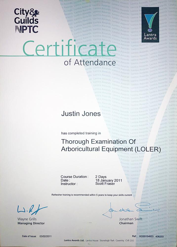 LOLER inspector certificates