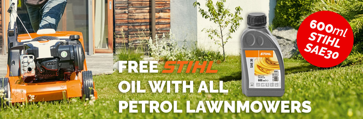 FREE oil with petrol lawnmowers