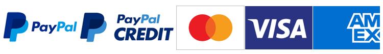 We accept Paypal, PayPal Credit, Visa, Mastercard and American Express