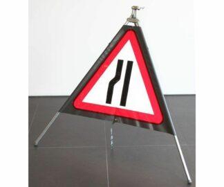 Quazar roll up sign road narrows left hand