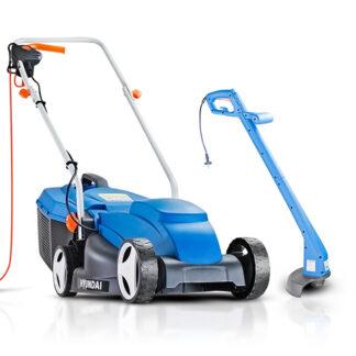 Hyundai HYM3200E electric push lawn mower and HYTR250E strimmer bundle