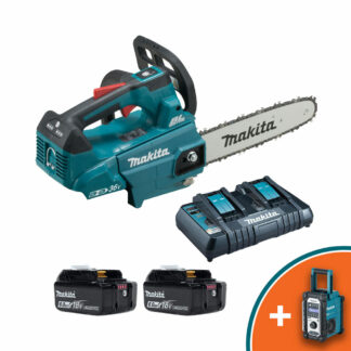 """Makita DUC306PG2 Twin 18V LXT Brushless battery top handled chainsaw (12"""" bar & chain) (Kit (with 2 x batteries & charger))"""