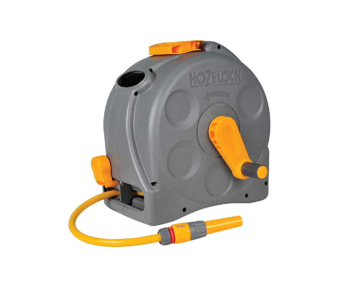 Hozelock 2 in 1 Compact Enclosed Reel & 25m hose (fittings & nozzles included)