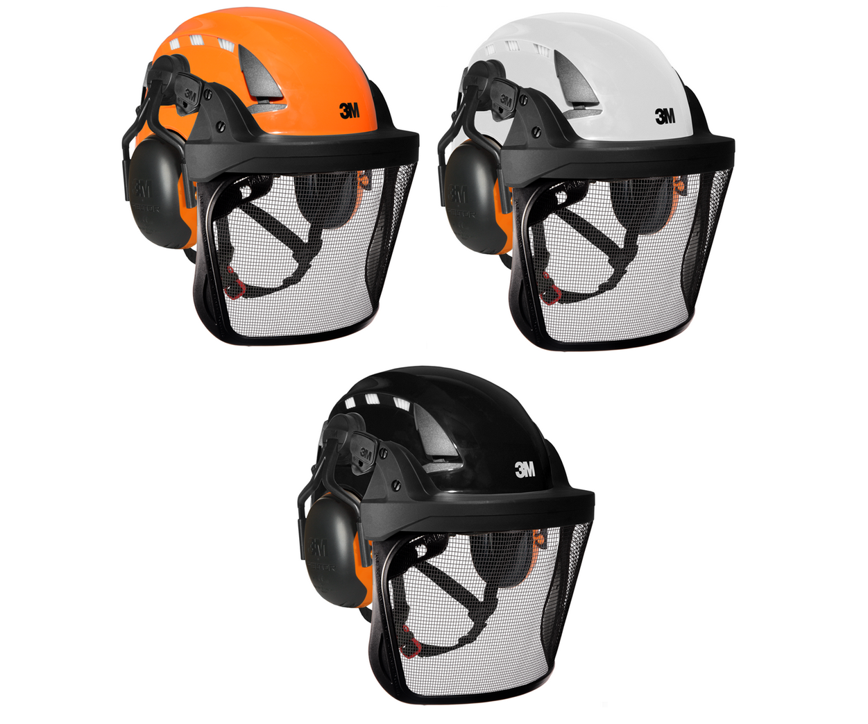 3M SecureFit X5000VE Arborist helmet assembly, Peltor X1-P5 ears (26SNR) / V5 stainless steel mesh visor