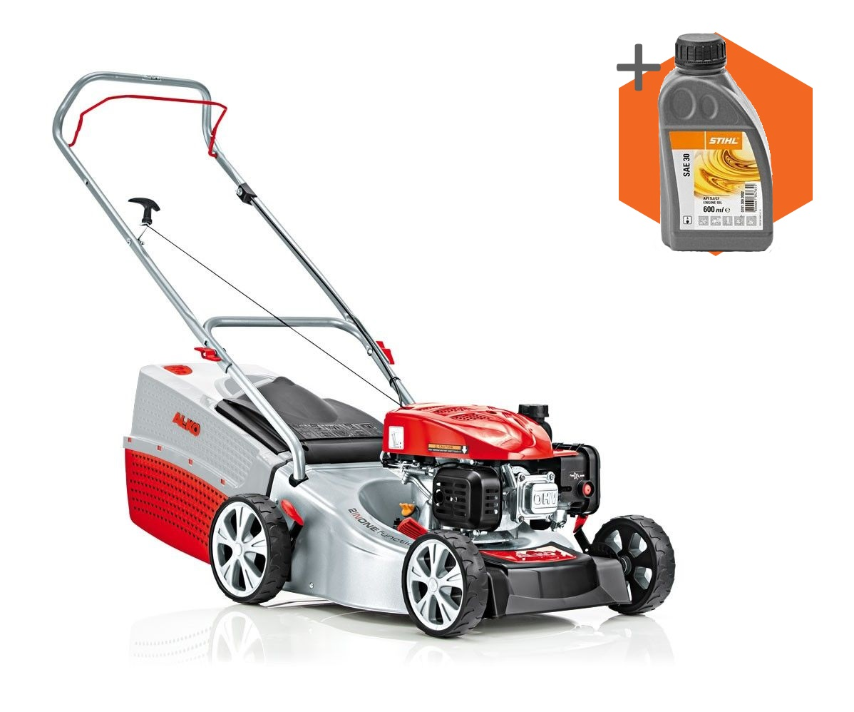 AL-KO Highline 42.7 P-A petrol push four wheeled lawn mower (42cm cut)