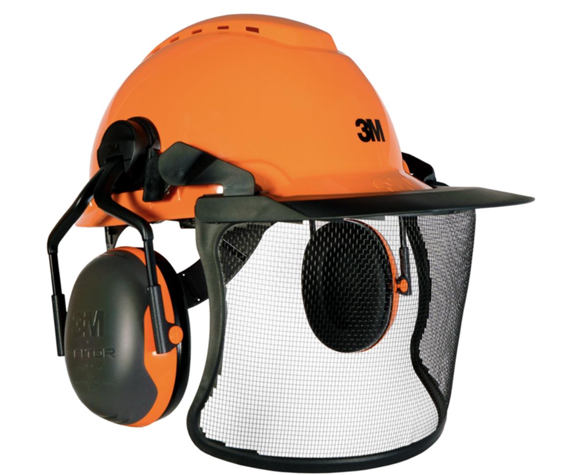 3M H700C Vented ground helmet assembly, Peltor X1-P5 ears (26SNR) / V4 carrier with mesh visor (Orange)