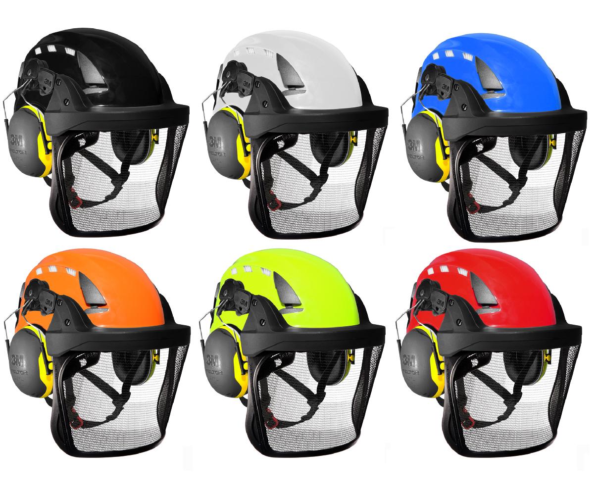 3M SecureFit X5000VE Arborist helmet assembly, Peltor X2 ears (30SNR) / V5 stainless steel mesh visor
