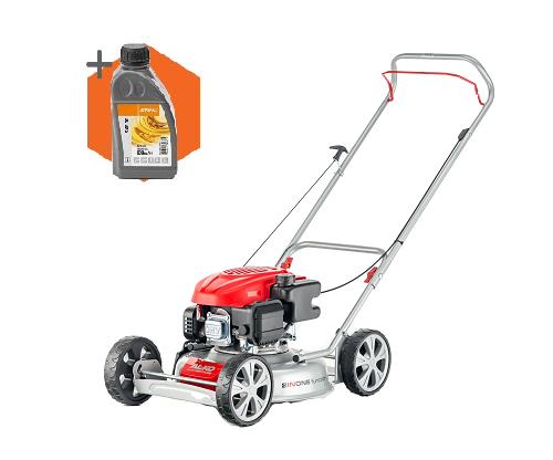 AL-KO 468 P-A Bio petrol push four wheeled lawn mower (46cm cut)