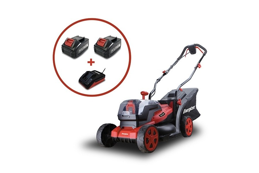 Energizer ELMC 20V battery push four wheeled lawnmower (33cm cut) (Kit (with 2 x 4Ah batteries & charger))