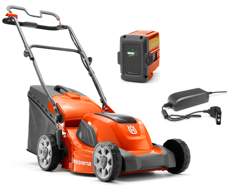 Husqvarna LC 141i battery push four wheeled lawn mower (41cm cut) (Kit (with battery & charger))