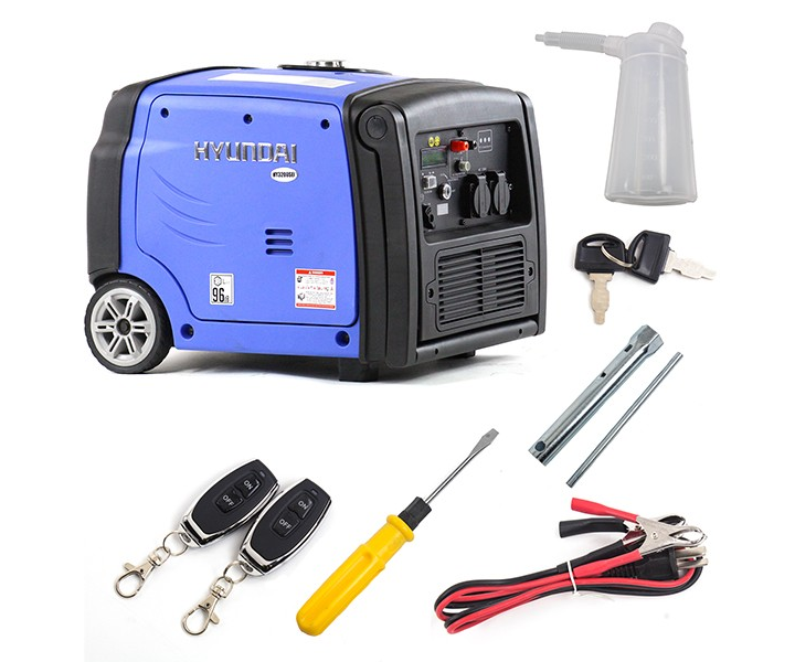 Hyundai HY3200SEi portable 'silent' inverter generator with wheel kit