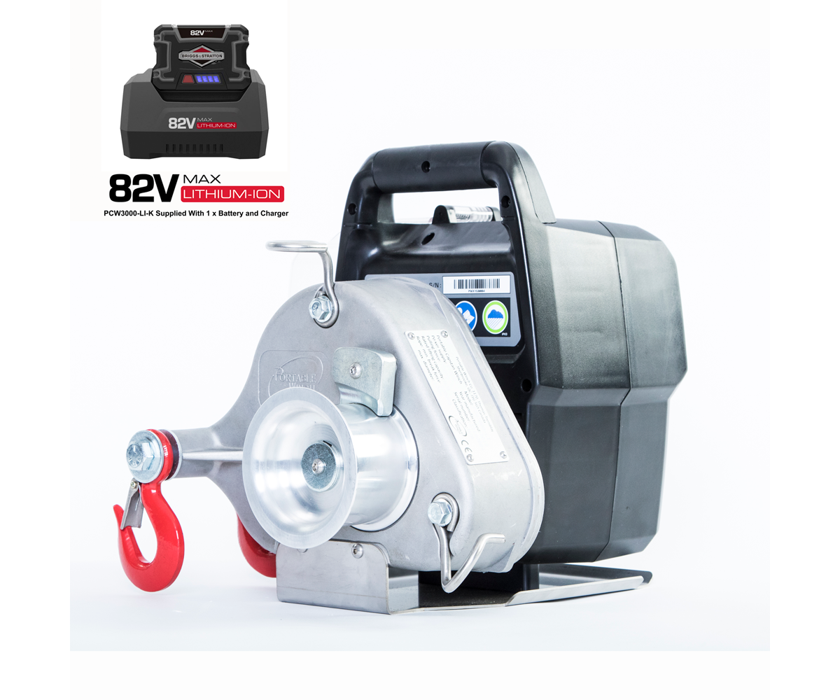 Portable Winch PWC3000-Li battery pulling winch (1000kg) (with battery & charger)