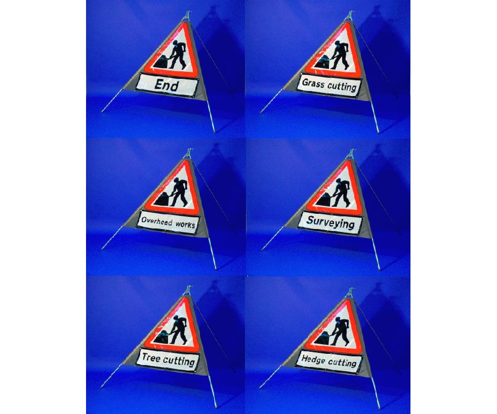 Quazar roll up sign 'Men at Work' with legend (600mm)