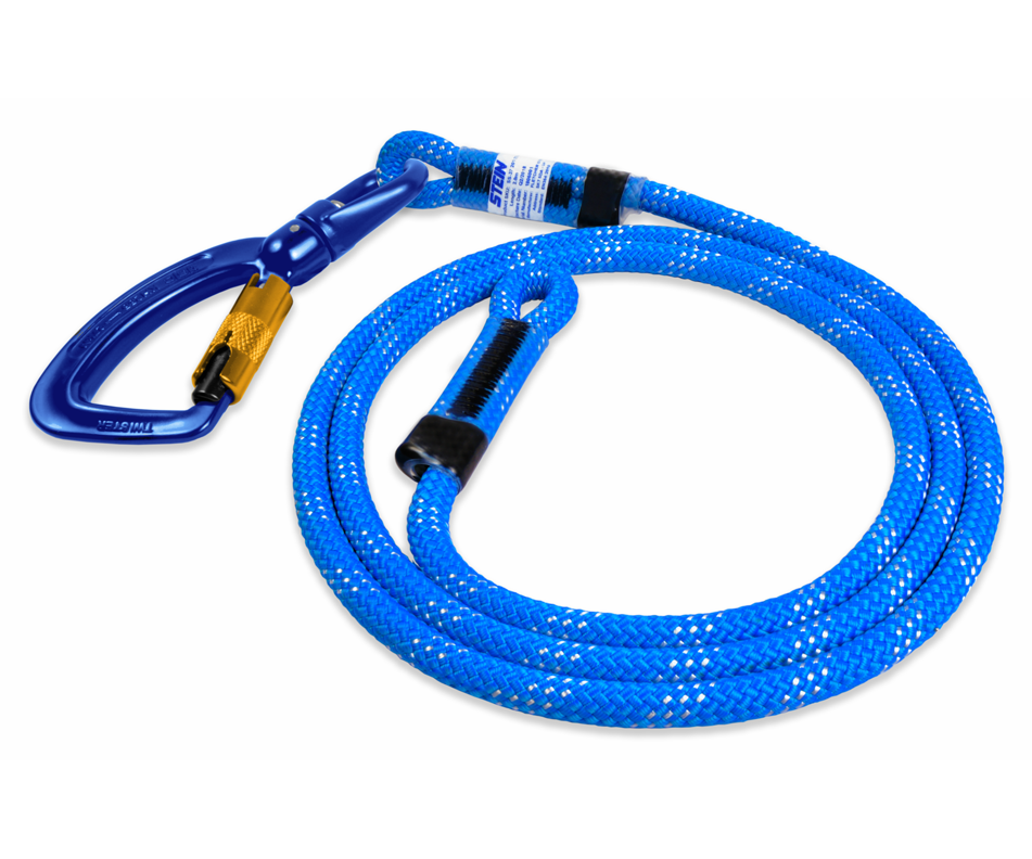 Stein SCE work positioning lanyard with swivel 3 way karabiner (Blue)