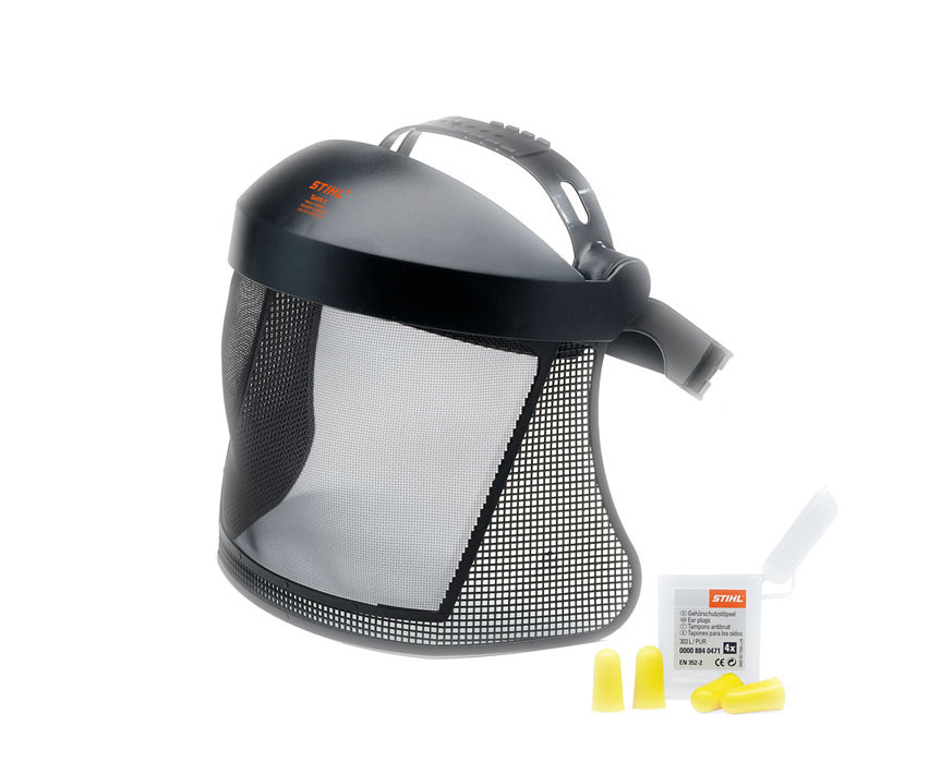 Stihl nylon mesh visor with ear plugs kit