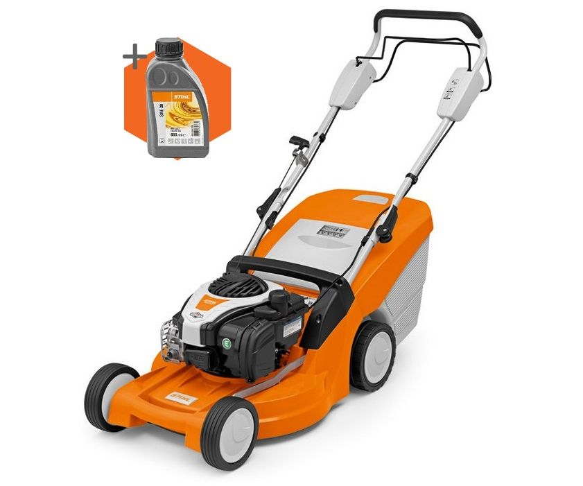 Stihl RM 448 T petrol self-propelled four wheeled lawn mower (46cm cut)