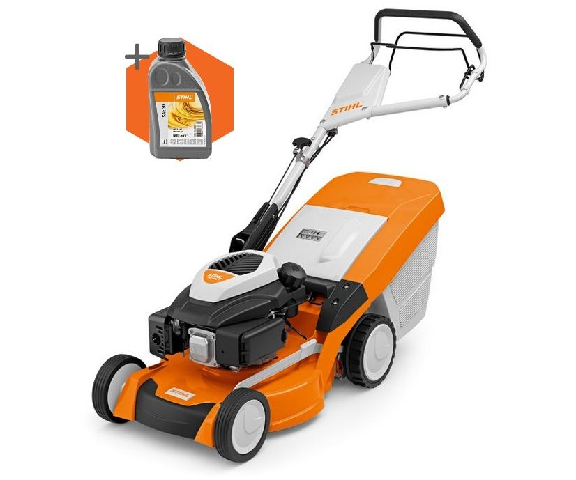 Stihl RM 650 T petrol self-propelled four wheeled lawn mower (48cm cut)