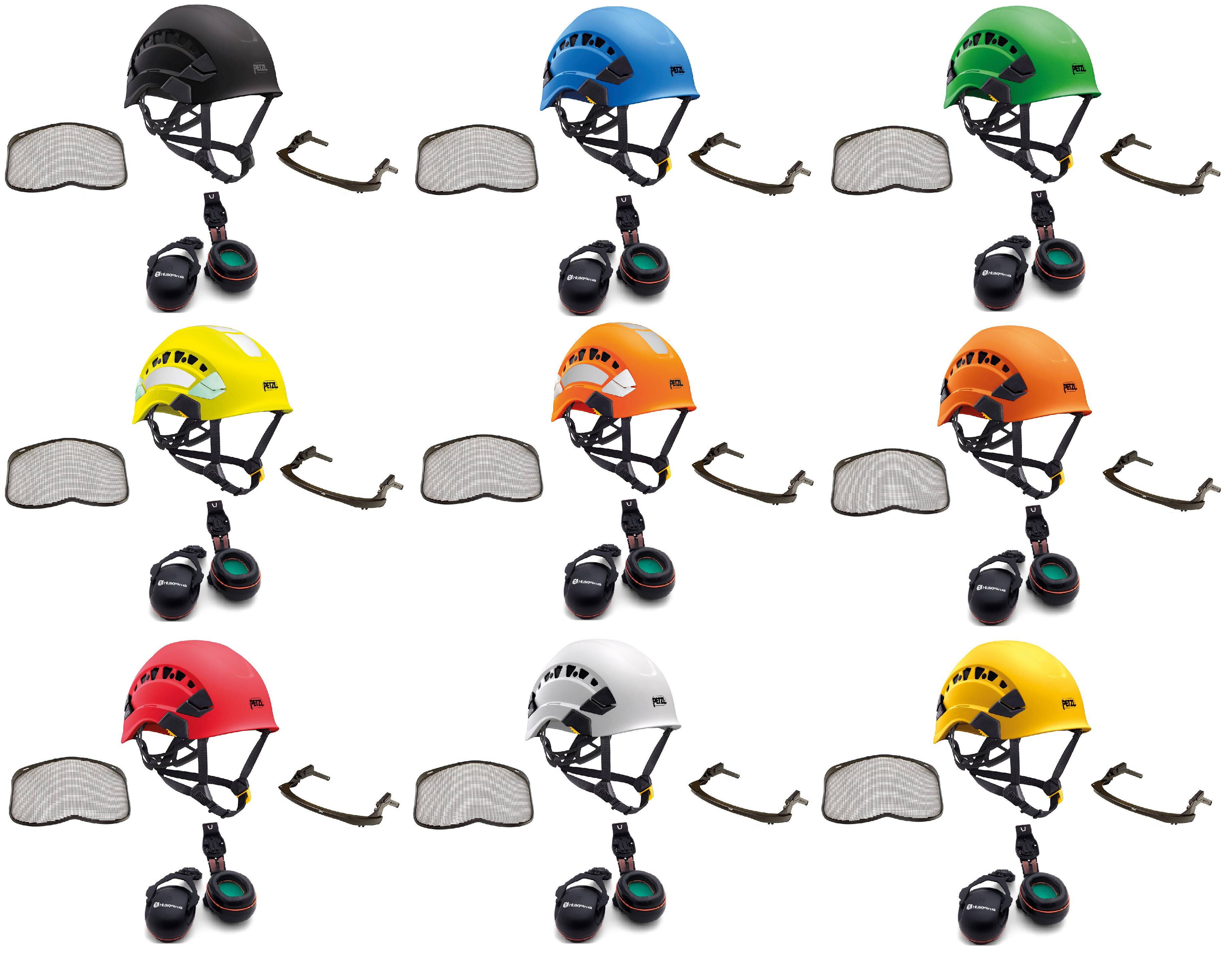 Petzl Vertex Vent climbing helmet assembly, MSA Sordin ears (26SNR) / mesh visor (2019 Version)