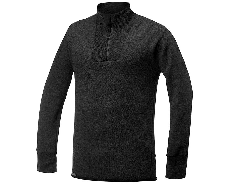 Woolpower Protection 400 mid layer zipped turtleneck (Black)
