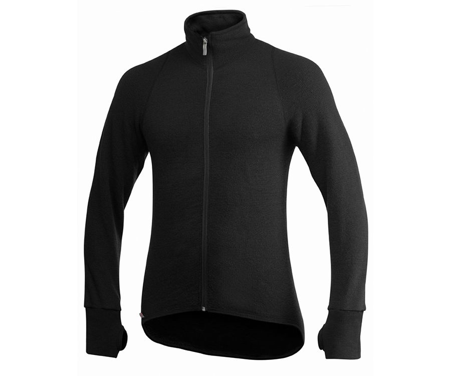Woolpower Ullfrotte 400 mid layer long sleeve zipped jacket (Black)